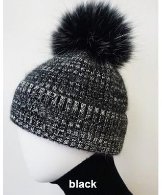 MIXED MULTI HAT WITH POM POM BLACK