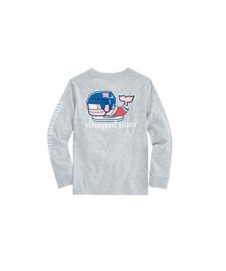 BOYS LONG SLEEVE PRO HOCKEY WHALE POCKET T-SHIRT GRAY HEATH