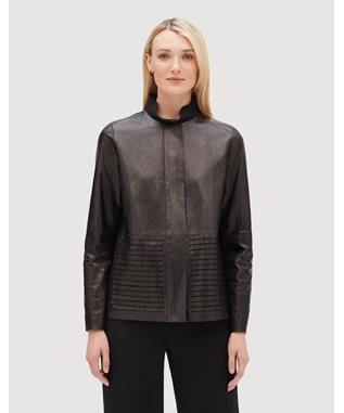 GLAZED WEIGHTLESS LAMBSKIN RAYEN JACKET BLACK