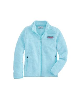 GIRLS FUZZY MARINA FULL ZIP FLEECE CRYSTAL BL