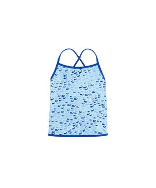 GIRLS SCHOOL OF WHALES TANKINI TOP CRYSTAL BL