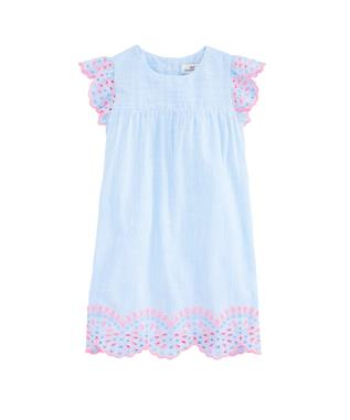 GIRLS MULTI EYELET FLUTTER SLEEVE DRESS HYDRANGEA
