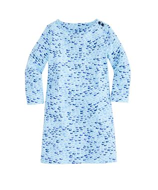 GIRLS KNIT SCHOOL OF WHALES TISBURY DRESS CRYSTAL BL