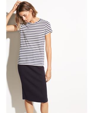 WOMENS BENGAL STRIPE ESSENTIAL CREW TEE OFF WHITE/PEBBLE