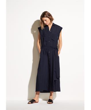 WOMENS ROLLED SLEEVE SHIRT DRESS MARINE