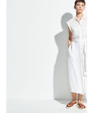 WOMENS ROLLED SLEEVE SHIRT DRESS OPTIC WHITE