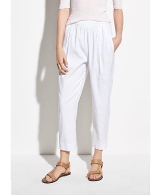 WOMENS TAPERED PULL ON LINEN PANT OPTIC WHITE