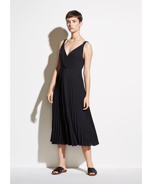 WOMENS PLEATED TWIST FRONT DRESS BLACK