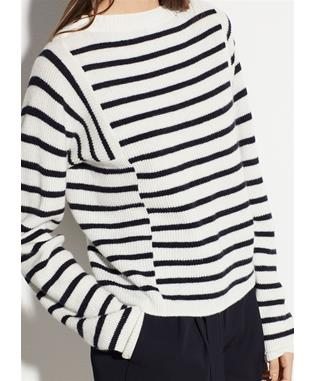 MIXED STRIPE PULLOVER OFF WHITE/COASTAL