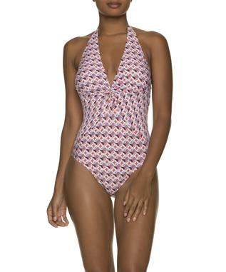 SANTA BARBARA TWIST FRONT ONE PIECE SWIMSUIT CORAL MULTI