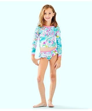 GIRLS UPF 50+ CORA RASHGUARD SWIM SET 44911F TURQUOISE HALF SHELL