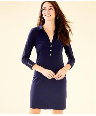 UPF 50+ ANSLEY POLO DRESS NAVY