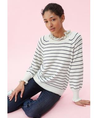 COZY STRIPE PULLOVER CREAM/NAVY