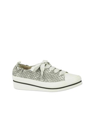 NOVA EMBOSSED LACE UP SNEAKER CHAMPAGNE