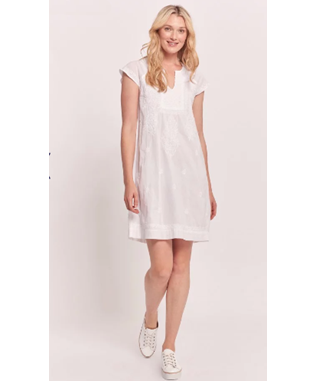 FAITH S/S SOLID EMBROIDERED DRESS WHITE