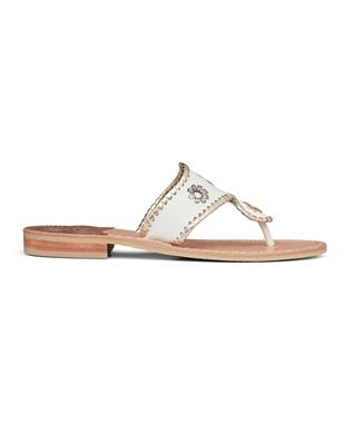 JACKS FLAT SANDAL WHITE METALLIC