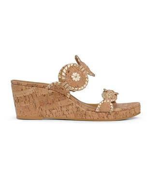 LAUREN MID WEDGE CORK/GOLD