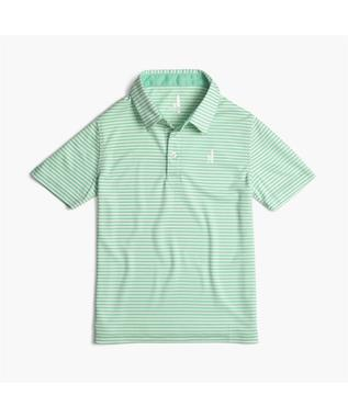 BOYS BUNKER STRIPED PREP-FORMANCE JR. POLO PALM