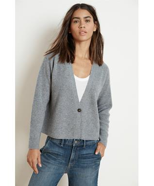 HALLE CASHMERE BLEND CROPPED CARDIGAN GREY