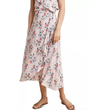 ISADORA FLORAL PRINT FAUX WRAP SKIRT PINK FLORAL