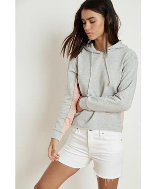 KARTER LUXE FLEECE CROPPED HOODIE HEATHER GREY