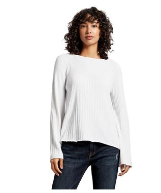 MADALINE RIBBED KNIT SWEATER WHITE