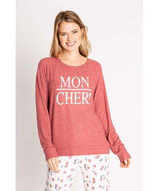 MON CHERI LONG SLEEVE TOP RED