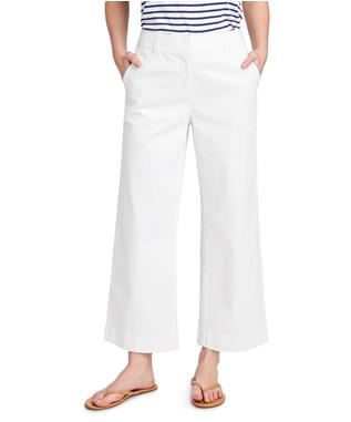 WOMENS HIGH WAISTED CROPPED CHINO PANTS WHITE CAP