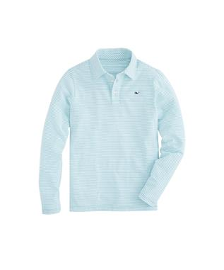 BOYS LONG SLEEVE STRIPE EDGARTOWN POLO GREENWICH