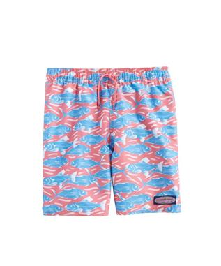 BOYS SWIMMING WITH FISH CHAPPY TRUNKS LOBSTER RE