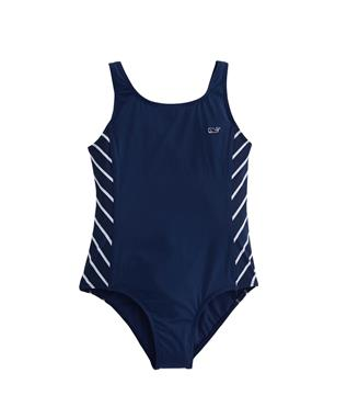 GIRLS STRIPE SPORTY ONE PIECE SWIMSUIT DEEP BAY
