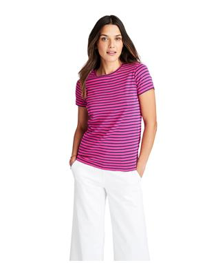 WOMENS STRIPED CREWNECK TEE RHODODENDR