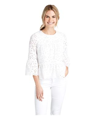 WOMENS EYELET TIERED TOP WHITE CAP