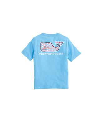 BOYS SWIMMING WITH FISH POCKET T-SHIRT BLUEJAY