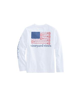 BOYS LONG SLEEVE LACROSSE FLAG POCKET SHIRT  WHITE CAP