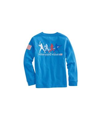 BOYS LONG SLEEVE HOMERUN POCKET SHIRT HULL BLUE