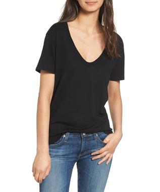 WOMENS HENSON V NECK COTTON TEE TRUE BLACK