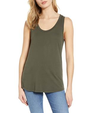 WOMENS CAMBRIA FITTED TANK ASH GREEN