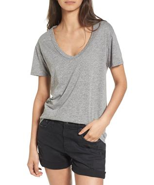 WOMENS HENSON SCOOP NECK SHORT SLEEVE TEE HEATHER GREY