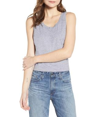 WOMENS CAMBRIA FITTED TANK HEATHER GREY