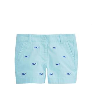 GIRLS WHALE EMBROIDERED EVERY DAY SHORTS CRYSTAL BLUE