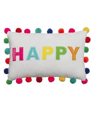 HAPPY POM POM EMBROIDERED PILLOW MULTI