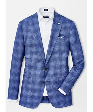 COLLECTION AMALFI PLAID SOFT JACKET BLUE CIELO