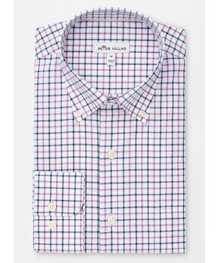 CROWN EASE STRETCH CALDERO TATTERSALL SPORT SHIRT DAYFLOWER