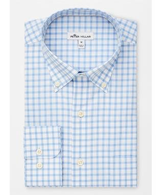 CROWN EASE STRETCH STUART GRAND TATTERSALL SPORT SHIRT COTTAGE BL
