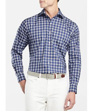 CROWN EASE STRETCH SANTO PLAID SPORT SHIRT SAIL