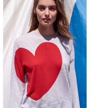 HEART AND STAR CREW NECK HEATHER GREY