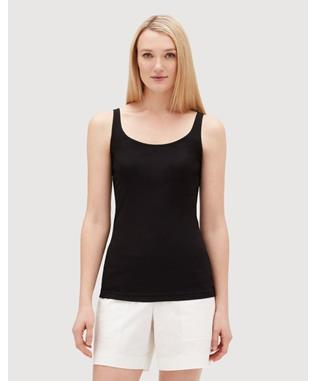 LIGHTWEIGHT COTTON RIB MODERN TEAGON TANK BLACK