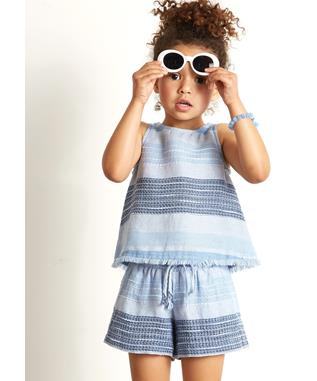 GIRLS FRAYED HEM SWING TANK SHADES OF BLUE