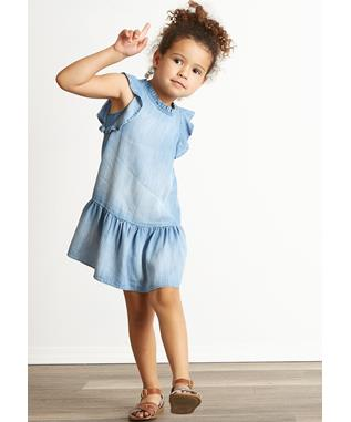 GIRLS RUFFLE DRESS CREW BLUE